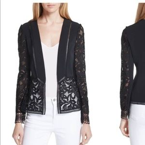 Ted Baker Black Sheer Lace Panel Jacket Blazer